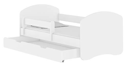 Kinderbett Jugendbett mit einer Schublade und Matratze Weiß ACMA II (140x70 cm + Schublade, Weiß)