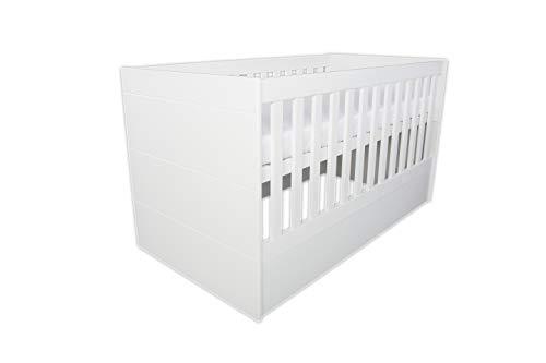 mini mio Babybett Stella 140x70cm weiß | umbaubar zum Beistellbett Juniorbett Jugendbett inkl. Matratze | multifunktionales mitwachsendes höhenverstellbares Gitterbett | stabil durch Buche-Massivholz
