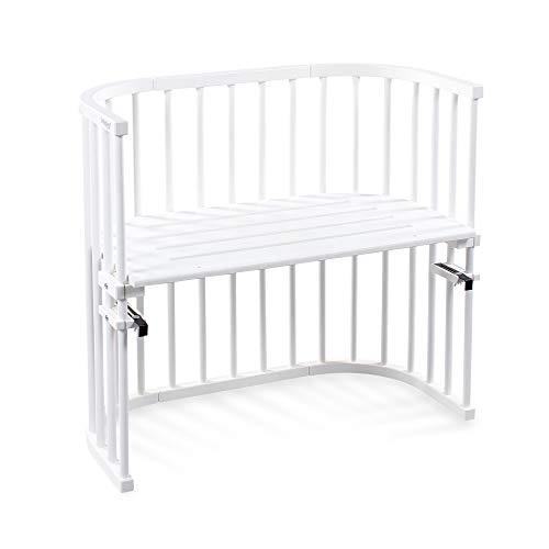 babybay Original Beistellbett aus massivem Buchenholz für Tag und Nacht I Kinderbett Höhe verstellbar & umweltfreundlich I mitwachsendes Babybett (Weiß lackiert)