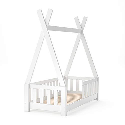 VitaliSpa Kinderbett Tipi Hausbett Indianer Bett Kinderhaus Massivholz Zelt Holz mit Zaun 70x140cm (Weiß)