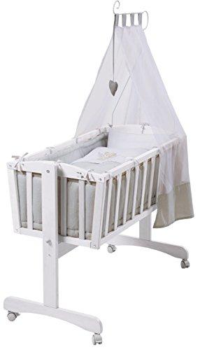 roba Komplettwiegenset, Babywiege (40x90cm), Holz, weiß, Stubenwagen & Wiege mit Feststellfunktion, Wiegenset inkl. kompletter Ausstattung & Baby Bettwäsche (80x80cm)