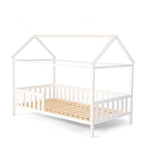 Alcube Exklusives Hausbett 160x80 mit Rausfallschutz und Lattenrost in weiß Kinderbett 80 x 160 für Mädchen und Jungen