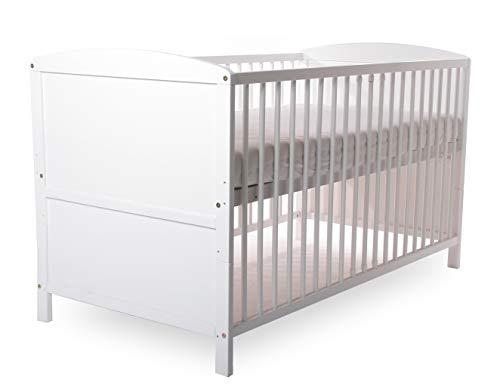 Baby- Kinder- und Jugend- Bett, Gitterbett, Kiefer teilmassiv, 140x70 cm, Babyblume TINA, Weiß……