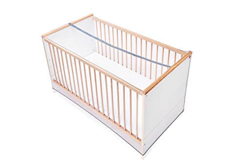 Diago Babybett Insektenschutz mit Reißverschluss zum Öffnen in der Mitte – Moskitonetz für Kinderbetten