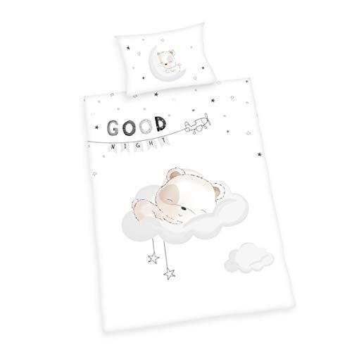 Herding Baby Best Bettwäsche-Set, Baumwolle, weiß, 40 x 60 cm, 100 x 135 cm