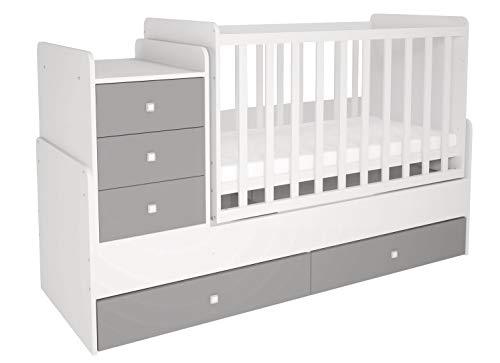 Polini Kids mitwachsendes Kombi-Kinderbett Gitterbett Babybett mit integrierter Wickelkommode und Wippfunktion: 60 x 120 cm oder 60 x 170 cm Matratzenmaß. Aus Birkenholz und MFC-Spannplatte. Weiß-Grau
