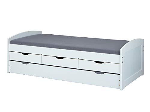 Inter Link Bett Funktionsbett Kinderbett Einzelbett Stauraumbett modernes Bett 205 x 98 x 63 cm Kiefer massiv Weiss lackiert