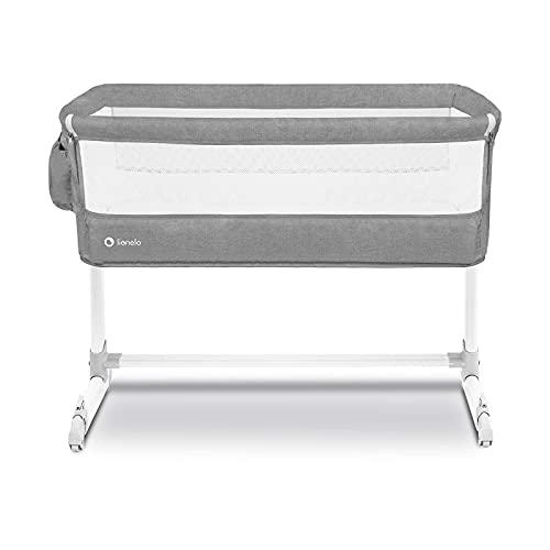 Lionelo Theo 2in1 Baby Bett Reisebett Baby Beistellbett Baby ab Geburt bis 9 kg Höhenverstellung Einstellung der Neigung Faltbare Seitenwand Matratze Moskitonetz (Taubengrau)
