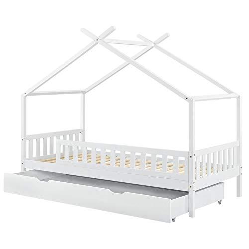 ArtLife Kinderbett Tipi 90x200 cm mit Rausfallschutz, Bettkasten & Lattenrost – Holz Hausbett weiß mit Dach – Kinder Bett für Jungen & Mädchen
