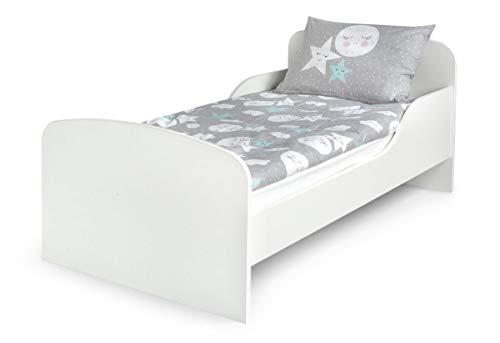 Leomark Funktionsbett aus Holz - White - Kinderbett mit Matratze, Holzbett mit Seitenschutz Lattenrost, Komplett Set für Kinderzimmer, Praktisches und Bequemes für Kinder, Liegefläche 70/140 cm