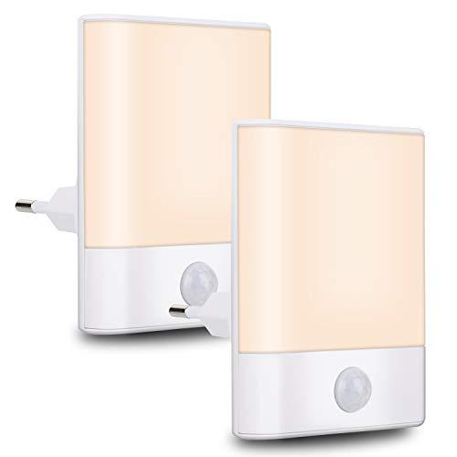 Nachtlicht Steckdose mit Bewegungsmelder, Brisun 2 Stück Nachtlicht 3 Modi (Auto/ON/OFF), Energiesparendes Warmweiß für Kinderzimmer, Flur, Schlafzimmer, Badezimmer, Küche, Treppen, Wohnzimmer