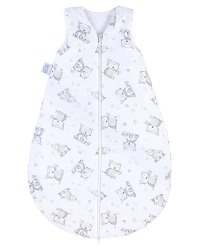 Julius Zöllner Baby Ganzjahresschlafsack aus 100% Baumwolle, Größe 90, 12-24 Monate, Standard 100 by OEKO-TEX, made in Germany, Häschen und Eule