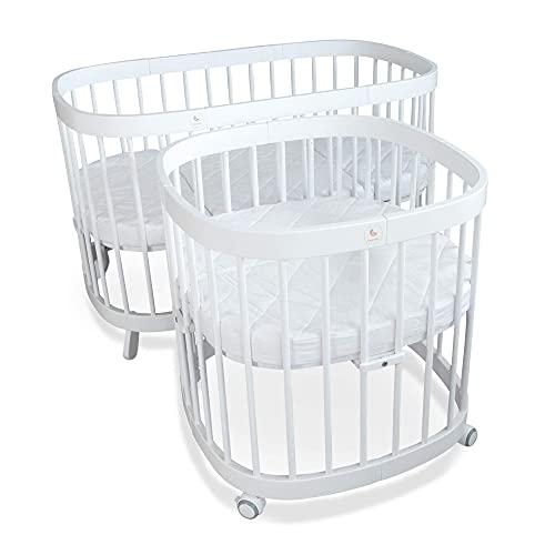 tweeto® Babybett Kinderbett 7-in-1 (Plus) | bis zu 10 Funktionen | inkl. atmungsaktiver Matratze (Weiß)