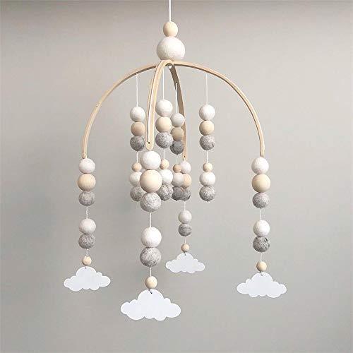 Nicole Knupfer Babybett Mobile Windspiel Rassel Spielzeug, Neugeborenen Kinderzimmer hängende Bettglocke, Holz Ornament Geschenk für Baby Mädchen oder Jungen (Grau + weiß Wolkenanhänger)