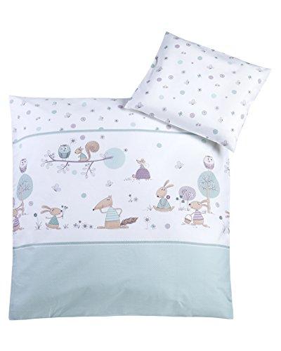 Babybettwäsche 80x80 + 35x40 cm, 100% Baumwolle, Made in Germany, Happy Animals mint