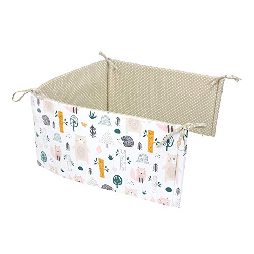 TupTam Babybett Kopfumrandung Nestchen Kurz Gemustert, Farbe: Waldtiere, Größe: 210x30cm (für Babybett 140x70)
