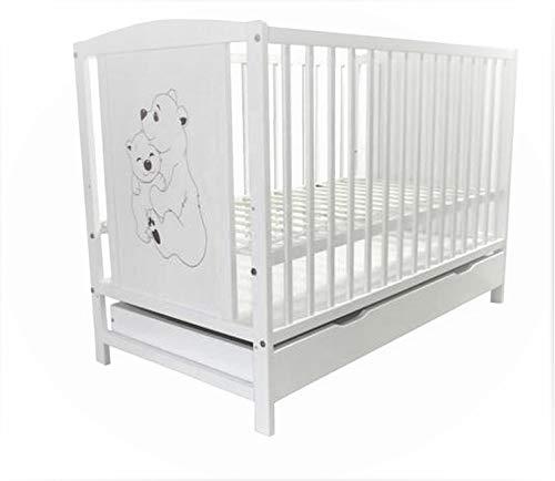 Kinderbett Babybett Gitterbett mit Motiv Bärchen inkl. Matratze und Schublade weiß 120x60cm NEU