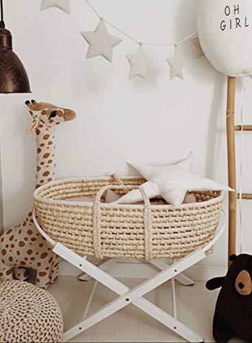 Baby Moseskorb mit Ständer und dreilagiger Matratze, Baby Stubenwagen mit Klappständer, Moseskorb Bettwäsche, Handgemachter Baby Schlafkorb (weißer Ständer)