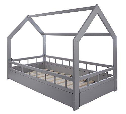 Velinda Kinderbett Hausbett Spielbett Abenteuerbett Einzelbett mit Absturzsicherung (Farbe: grau)
