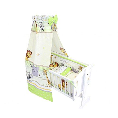 TupTam Unisex Baby Wiegen-Bettwäsche-Set 6-TLG, Farbe: Imagine Grün, Anzahl der Teile:: 6 TLG. Set