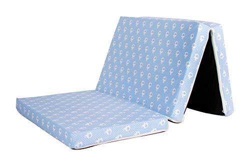 Reisebettmatratze, Kindermatratze, Klappmatratze, Spielmatratze, Reisematratze, Bezug 100% Baumwolle,120x60x6cm, Babyblume (Elefant (blau))