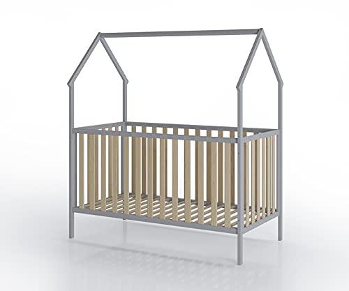 FabiMax Kinderbett Schlafmütze, 70 x 140 cm, grau/Natur