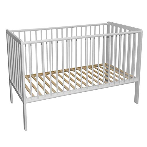Bubema Babybett Nils 2.0, Buche massiv in Zwei Farben, aus nachhaltiger Produktion Größe 70x140 cm, Farbe Weiß lackiert