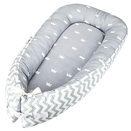 Luchild Lagerungskissen für Babys multifunktionales Kuschelnest,100% Baumwolle, antiallergisch Nestchen Reisebett für Babys und Säuglinge (strip)