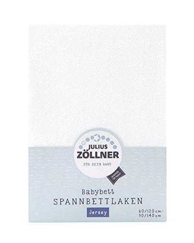 Julius Zöllner 8320113100- Spannbetttuch Jersey für das Kinderbett, Größe: 60x120 / 70x140 cm, Farbe: weiß