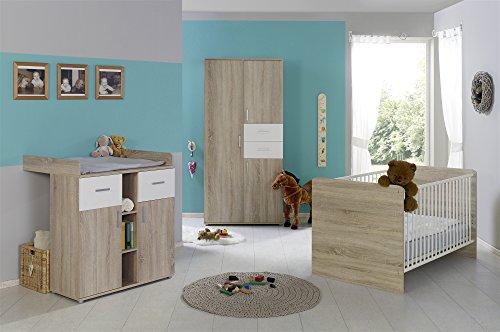 Babyzimmer Babymöbel komplett Set ELISA 1 in Eiche Sonoma Weiß, Komplettset mit Kleiderschrank Babybett Lattenrost Wickelkommode und Wickelaufsatz, Made in Germany