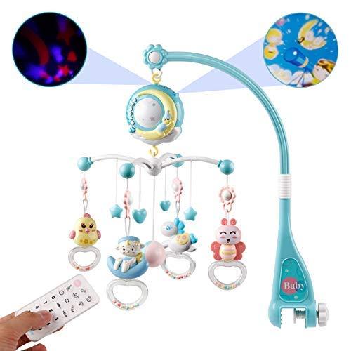 BabyMobilefürKinderbettKrippemitLichtundMusik,ProjektorundFernbedienung