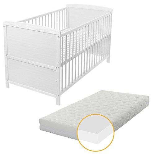 BABYBLUME Kinderbett Babybett Gitterbett 140x70 cm TINA Kiefer, weiß inkl. Matratze PLUS