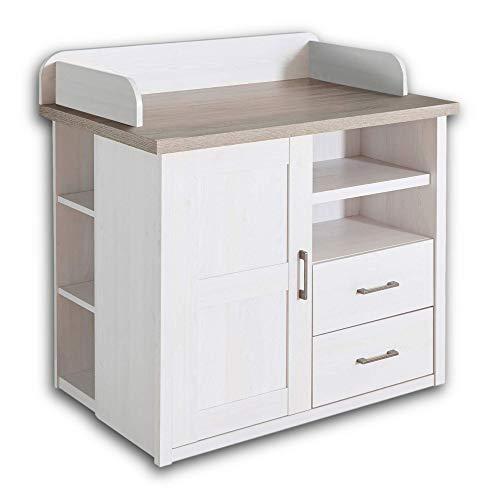 LUCA Elegante Schlafzimmer Kommode im Landhausstil - stilvoll & ausdrucksstark in Pinie Weiß / Trüffel - 60 x 101 x 43 cm (B/H/T)