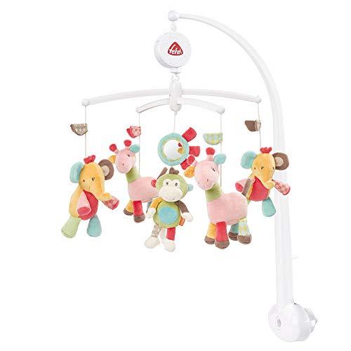 Fehn 074291 Musik-Mobile Safari – Spieluhr-Mobile mit bunten Safari-Tieren zum Lauschen & Staunen – Melodie 'Brahms Wiegenlied' – Zum Befestigen am Bett für Babys von 0-5 Monaten – Höhe: 65 cm, ø 40 cm