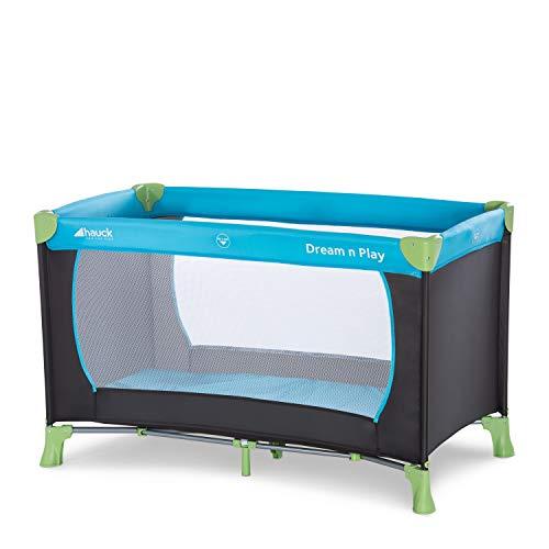 Hauck Kinderreisebett Dream N Play / inklusive Einlageboden und Tasche / 120 x 60cm / ab Geburt / tragbar und faltbar, Wasser (Blau)