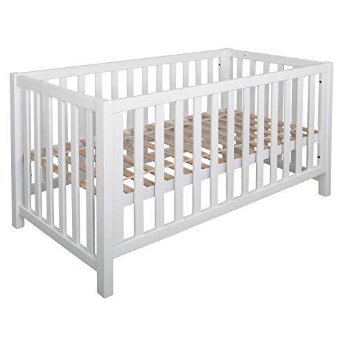 Bubema Nils Babybett, umbaubar/Sofa, Buche massiv zwei Farben,ökologisch,drei Größen- Qualität Größe 70x140 cm, Farbe Weiß lackiert
