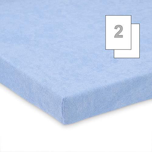 Doppelpack FabiMax 3558 Frottee Spannbettlaken für Stubenwagen und Bollerwagen, 45 x 85 cm, blau