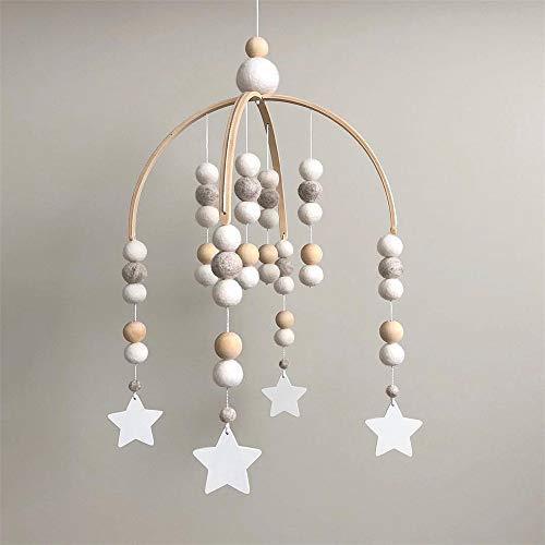 Nicole Knupfer Babybett Mobile Windspiel Rassel Spielzeug, Neugeborenen Kinderzimmer hängende Bettglocke, Holz Ornament Geschenk für Baby Mädchen oder Jungen (Grau + Sternanhänger)