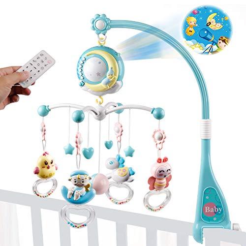 Mini Tudou Baby Crib Mobile Babybett mit Musik und Lichtern,Timing-Funktion,Projektion,Rassel zum Mitnehmen und Spieluhr,für Babys Jungen Mädchen Kleinkinder(Blau)