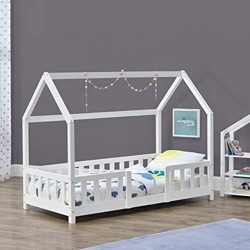 Kinderbett Sisimiut 70x140 cm Hausbett mit Rausfallschutz Bettenhaus mit Lattenrost Kiefernholz Weiß