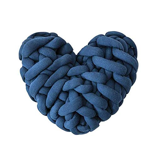 Yiyu Herz 28 * 27Cm Knot Kopfkissen Kissen Nordische Einfachheit Kreativität Baumwolle Geknotetes Kissen Baby Bett Zimmer Dekor Spielzeug Knotenkissen x (Color : Blue)