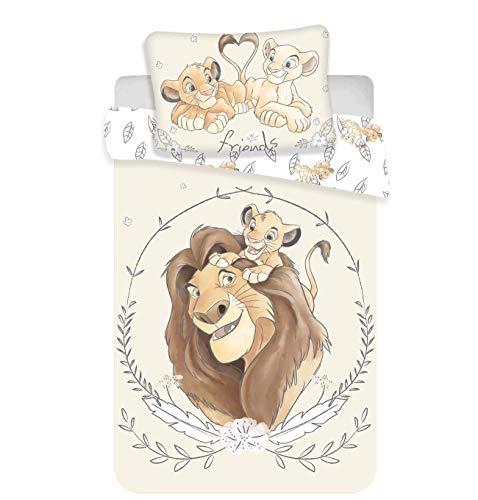 Kinderbettwäsche Disney III 2-teilig 100% Baumwolle 40x60 + 100x135 cm mit Reißverschluss (König der Löwen)