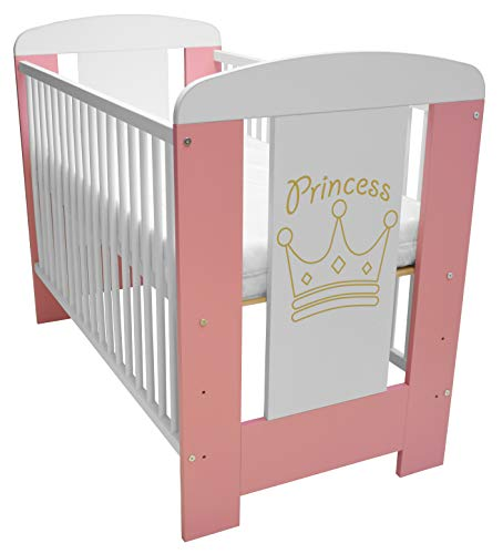 Best For Kids Gitterbett in 3 Farben mit 10 cm Matratze aus Schaumstoff TÜV Zertifiziert Geprüft, Kinderbett Babybett weiß 4 Teile (Rosa-Princess mit Matratze)