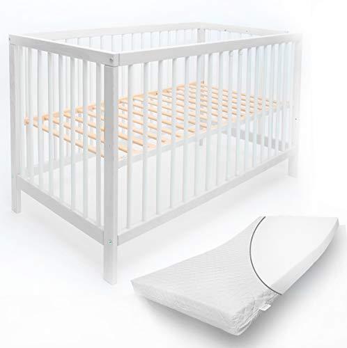 Mitwachsendes Babybett 70x140 cm Toni aus hochwertiger Buche, mit Schlupfsprossen und Matratze ohne Schublade in weiß