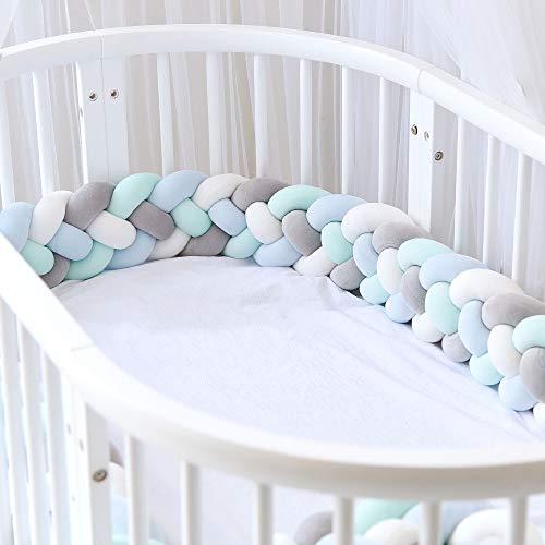Icegrey Bettumrandung Babybett Bettschlange Geflochten Kinderbett Stoßfänger 4 Weben Baby Nestchen Bettumrandung Geflochtene für Krippe Kinderbett mit Wäschesack, Grau + Weiß + Grün + Blau, 3m