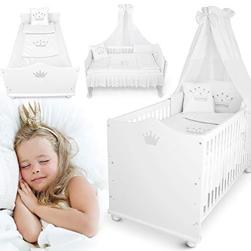 weißes Kinderbett – vom 70x140 cm Babybett zum Juniorbett umbaubar – mit Matratze, Bettwäsche, Himmel, Nestchen (Babybett)