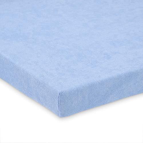 FabiMax 1714 Frottee Spannbettlaken für Kinderbett, 70 x 140 cm, blau