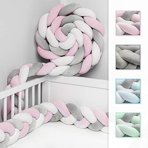 JAKOR® Bettschlange geflochten 3M - geprüfte Laborqualität - Bettumrandung geflochten inkl. Wäschenetz - Babybettumrandung - Bettumrandung Babybett – Bettschlange 300 cm (Rosa/Weiß/Grau)