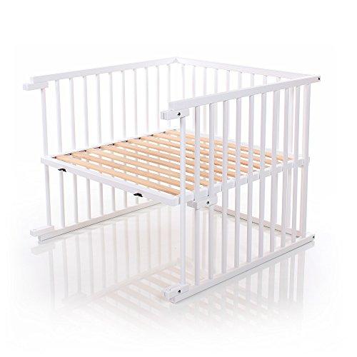 babybay Kinderbett Umbausatz stufenlos verstellbar passend für Modell Original Beistellbett I Babybett Größe: 132 cm x 81 cm aus massivem Buchenholz, weiß lackiert