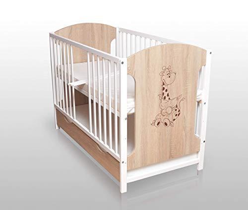 Sonoma/Weiß Babybett Gitterbett Kinderbett 120x60 mit Matratze und Schublade NEU